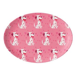 Cute Pink Hearts Valentine Dalmatian Porcelain Serving Platter