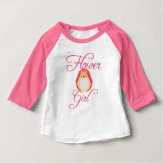 Cute Pink Hedgehog Flower Girl Baby T-Shirt