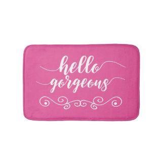 Cute Pink Hello Gorgeous Bath Mat