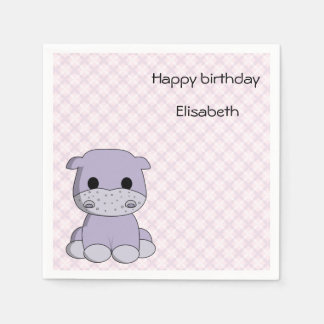 Cute pink hippo cartoon name girl birthday disposable napkin
