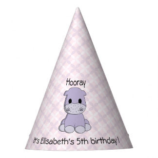 Cute pink hippo cartoon name girl birthday party hat