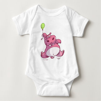 CUTE PINK HIPPO ON BALLOON BABY BODYSUIT