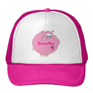 Cute Pink Hippo Personalized Girls Name Hat