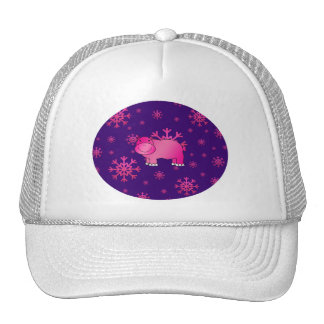Cute pink hippo purple pink snowflakes trucker hat