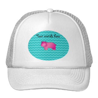 Cute pink hippo turquoise chevrons trucker hat