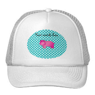 Cute pink hippo turquoise polka dots trucker hat
