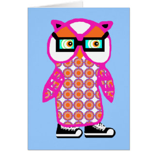Cute Pink Hipster Owl Blank Greeting Card