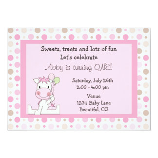 Cute Pink Horse 1st Birthday Invitation for Girls