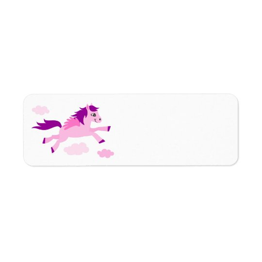 Cute pink horse with wings blank return address label