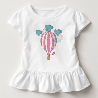 Cute Pink Hot Air Balloon With Raccoon Toddler T-Shirt