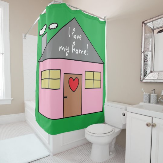 Cute Pink House Drawing Green Colour Shower Curtain