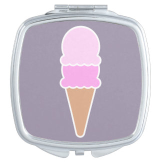 Cute Pink Ice Cream Cone - Double Scoop Compact Mirror
