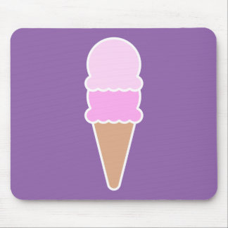 Cute Pink Ice Cream Cone - Double Scoop Mouse Pad