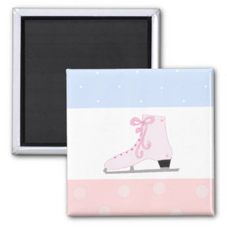 Cute Pink Ice Skate Square Magnet