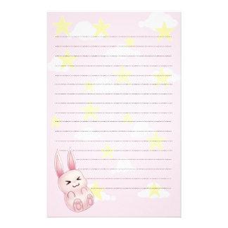 Cute pink Kawaii Bunny rabbit falling from stars Stationery