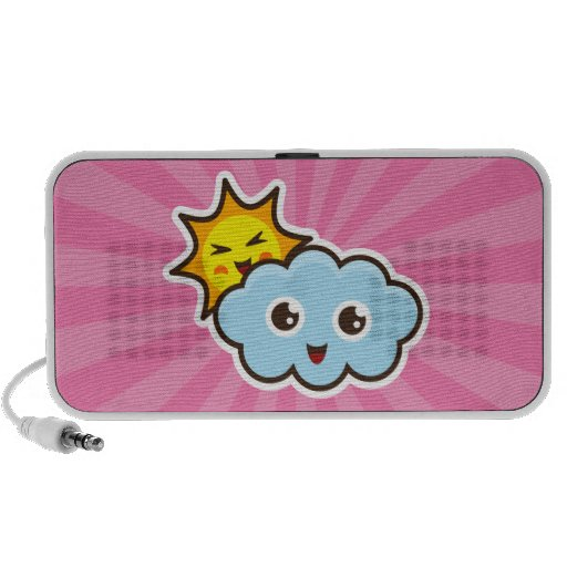 Cute pink kawaii girls speakers with sun and cloud