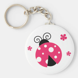 Cute Pink Labybirds and Flowers Key Ring