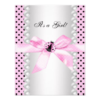Cute Pink Ladybug Baby Girl Shower Custom Invites