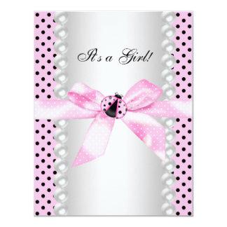 Cute Pink Ladybug Baby Shower 11 Cm X 14 Cm Invitation Card