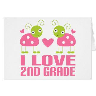 Cute Pink Ladybug I Love 2nd Grade Gift Card