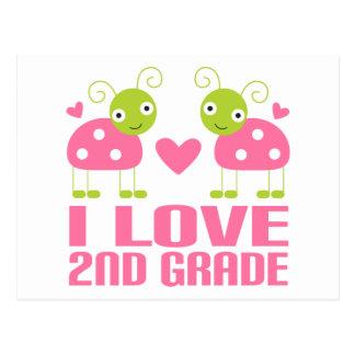 Cute Pink Ladybug I Love 2nd Grade Gift Postcard