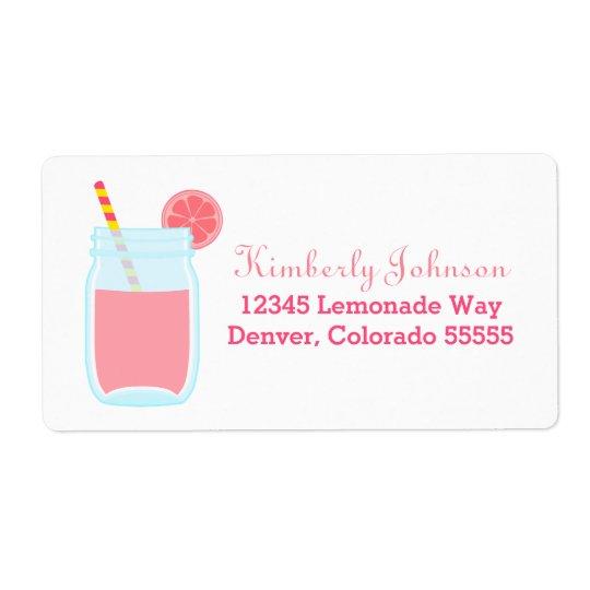 Cute Pink Lemonade Shipping Label
