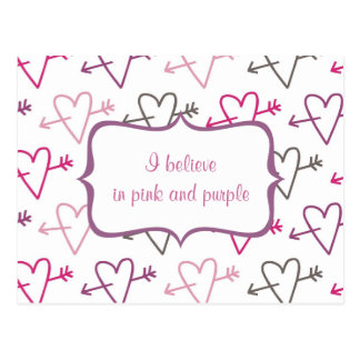 cute pink little hearts postcard