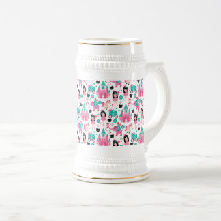 Cute Pink Little Princess Unicorn Magical Pattern Beer Stein