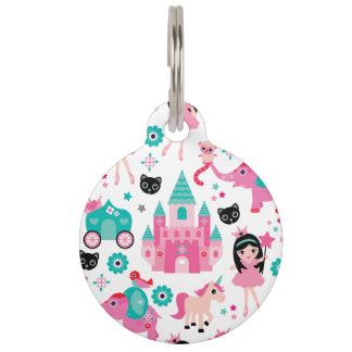 Cute Pink Little Princess Unicorn Magical Pattern Pet Tag