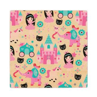 Cute Pink Little Princess Unicorn Magical Pattern Wood Coaster