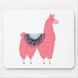 Cute Pink Llama Mouse Pad