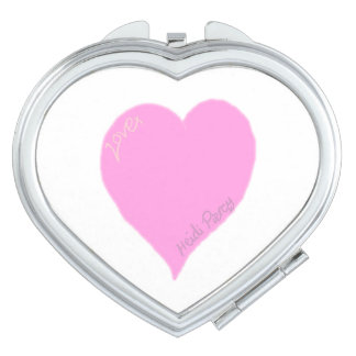 Cute Pink Love Heart Compact Mirror