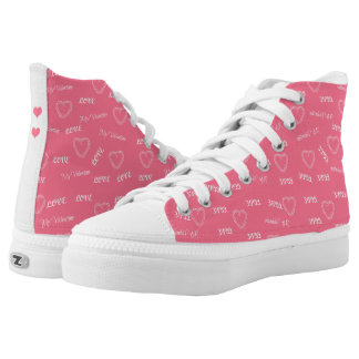 Cute pink love script Valentine girly patterned Printed Shoes