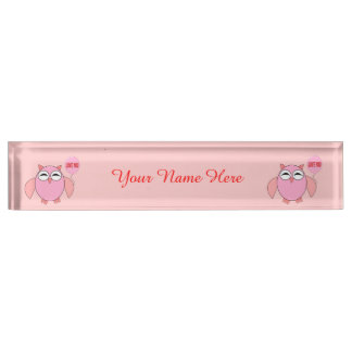 Cute Pink Love You Owl Custom Desk Nameplate