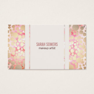 Cute Pink Makeup Artist Gold Circle Pattern Business Card