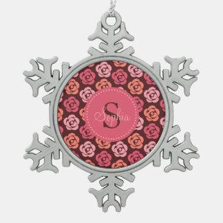 Cute Pink Maroon Floral Monogram Snowflake Snowflake Pewter Christmas Ornament