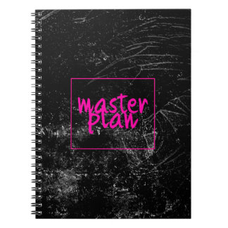 Cute Pink Master Plan on Black Chalk Board Marble Notebooks