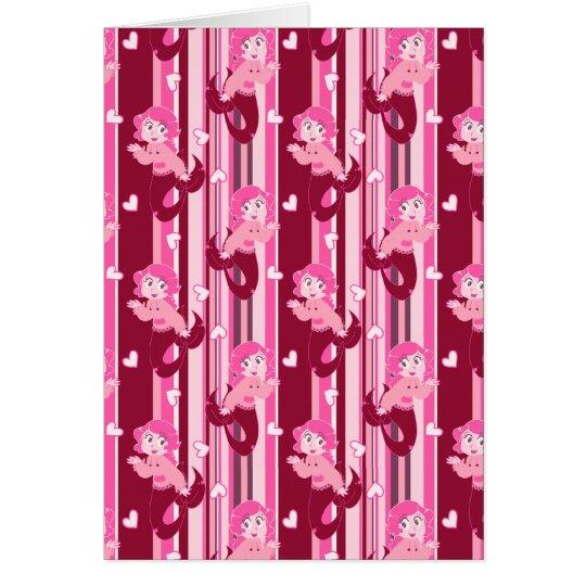 Cute Pink Mermaid pattern Card