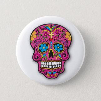 Cute Pink Mexican Sugar Skull Day of the Dead 6 Cm Round Badge