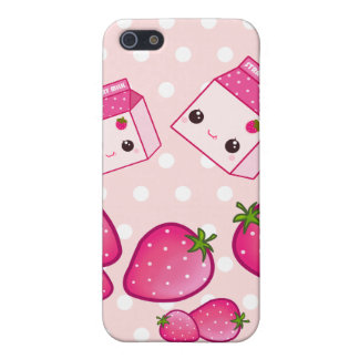 Cute pink milk carton with kawaii strawberries case for the iPhone 5