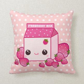 Cute pink milk carton with kawaii strawberries cushion