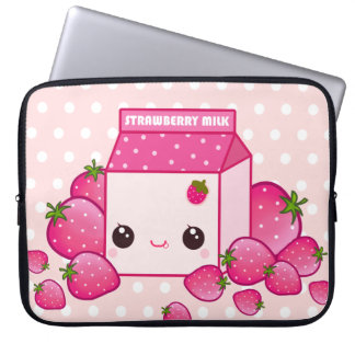 Cute pink milk carton with kawaii strawberries laptop sleeve