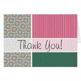 Cute Pink & Mint Retro Pattern Greeting Card