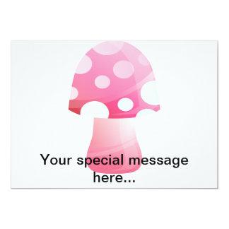 Cute Pink Morsel Mushroom 13 Cm X 18 Cm Invitation Card