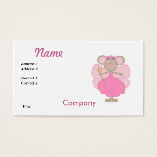 Cute Pink Mouse Fairy Business Card
