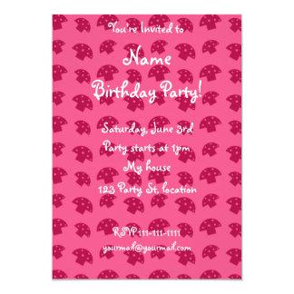 Cute pink mushroom pattern 13 cm x 18 cm invitation card