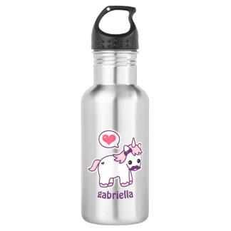 Cute Pink Mustache Unicorn 532 Ml Water Bottle