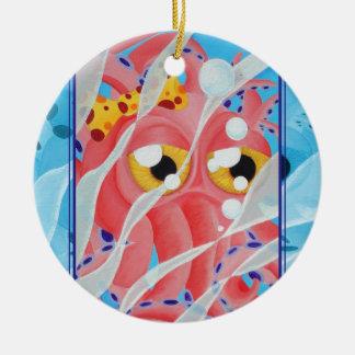 Cute Pink Octopus Painting Round Ceramic Decoration