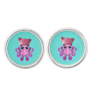 Cute Pink Octopus Wearing Pussy Hat Cuff Links