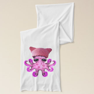 Cute Pink Octopus Wearing Pussy Hat Scarf
